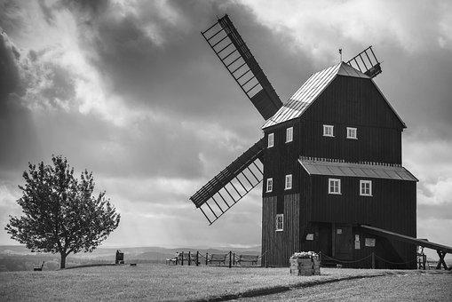 Architecture, Windmill, Mill, Landscape, Nature