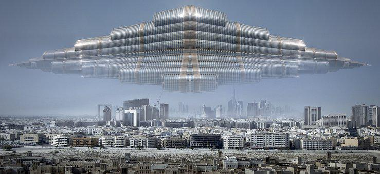 City, Ufo, Forward, Architecture, Light, Futuristic