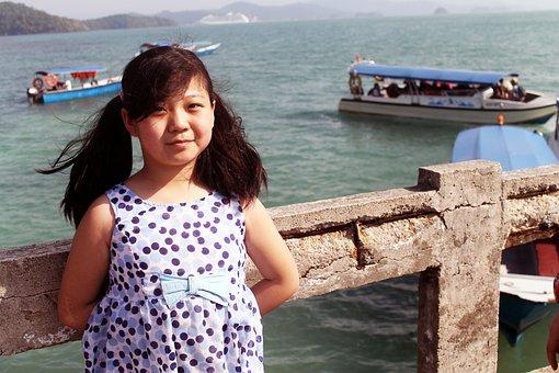 Baby, Girl, Sea, Sea Beach, Malaysia, Langkawi Island
