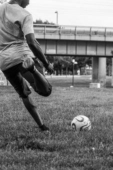 Football, Sport, Black, White, Goal Kick, Ball