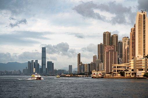 Hong Kong, City, Water, Boat, Skyline, Building, Urban