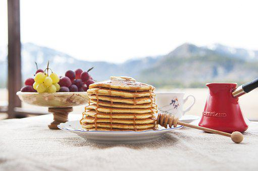 Pancake, Hash Browns, Mountains, Morning, Breakfast
