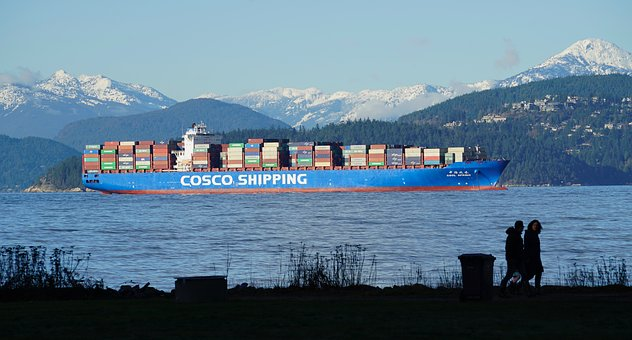 Shipping, British Columbia, Canada, Landscape, Water