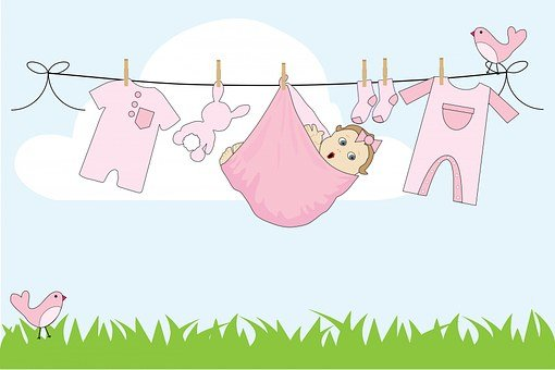 Baby, Girl, Baby Girl, Pink, Cute, Clothes, Line