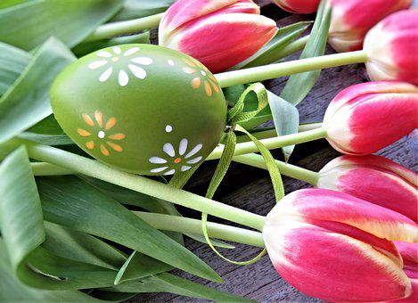 Tulips, Easter Egg, Flowers, Easter, Tulip Bouquet