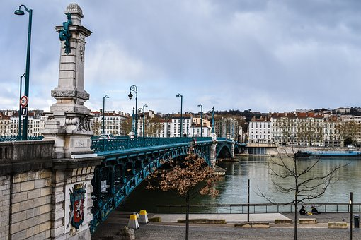 Lyon, France, Architecture, Bridge, Rhone, Sky, Green