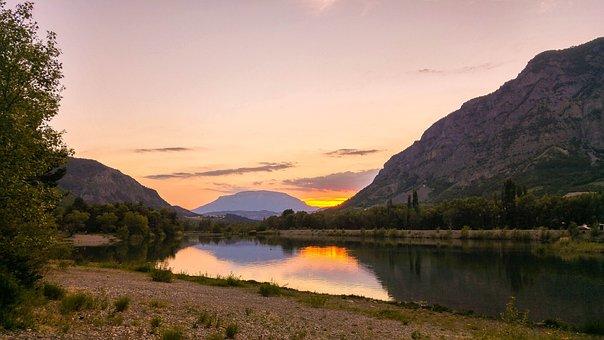 Lake, Sunset, Water, Sky, Landscape, Nature, Sunrise