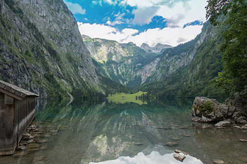 Obersee, Bayern, Landscape, Lake, Mountains, Water