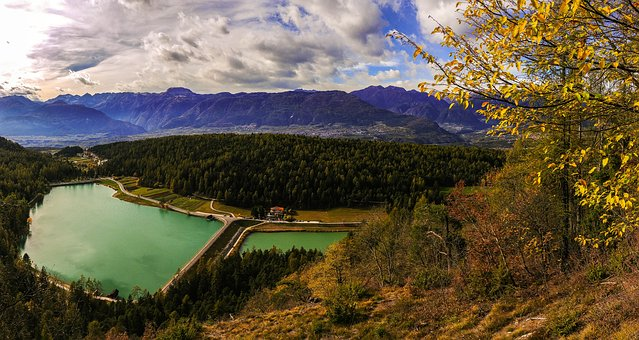 Lake, Italy, South Tyrol, Landscape, Water, Nature, Sky