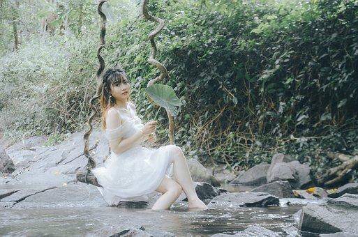 Girl, Beautiful, Long Hair, Asian, Girl By The Lake