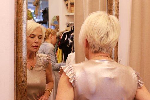 Woman, Mirror, Shop, Boutique, Portrait, Reflection