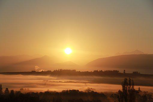 Sunshine, Aurora, Mountain, Sunrise, Sun, Nature