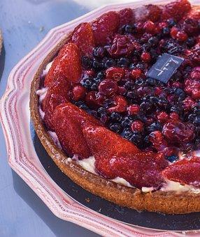 Strawberries, Cherries, Blueberries, Pie, Dessert, Tart