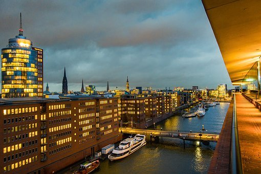 Hamburg, Ships, Houses, City Trip, Architecture