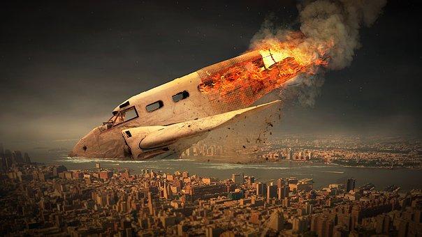 Aircraft, Sky, Crash, Fire, Flame, Smoke, Damage