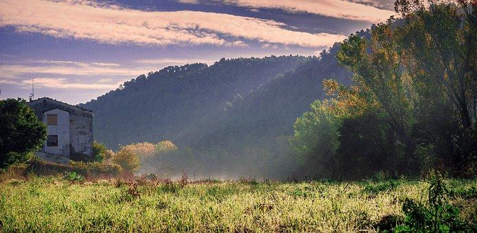 Nature, Landscape, Autumn, Trees, Mountains, Clouds