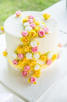 Flowers, Cake, Wedding Cake, Water Drops, White