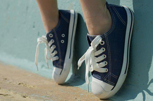 Sneekers, Shoes, New, Boy, Laces, Toes, White, Blue