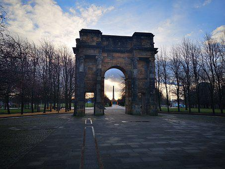 Glasgow, Glasgow Green, Sunrise, Winter