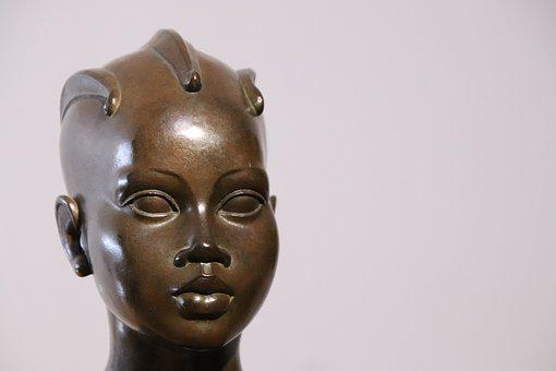 Sculpture, Bronze, Face, Portrait, Figure, Woman