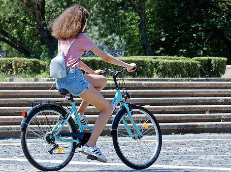 Girl, Young, Bike, Park, Stairs, Speed, Motion