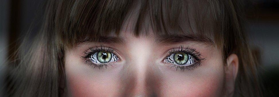 Steampunk, Eyes, Green, Gears, Girl, Woman, Brown, Hair