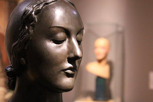 Sculpture, Bronze, Woman, Figure, Face, Portrait, Head
