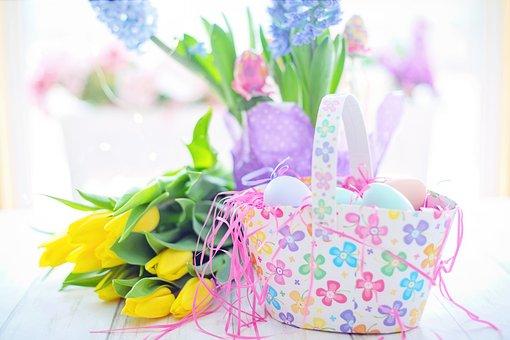 Easter, Basket, Eggs, Flowers, Colorful, Spring
