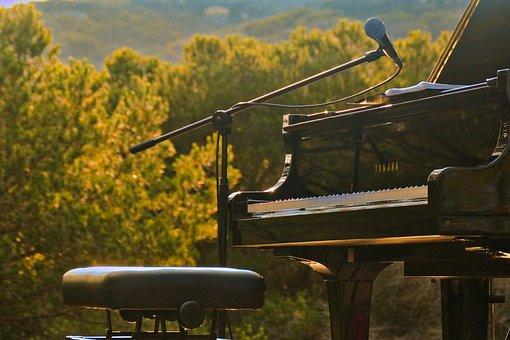 Piano, Open Air, Nature, Mountain, Landscape, Keys