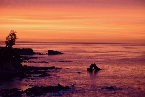 Sunrise, Pacific, Ocean, California, Dawn, Water