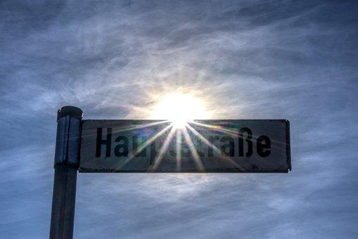 Street Sign, Shield, Dazzling Star, Backlighting, Sky