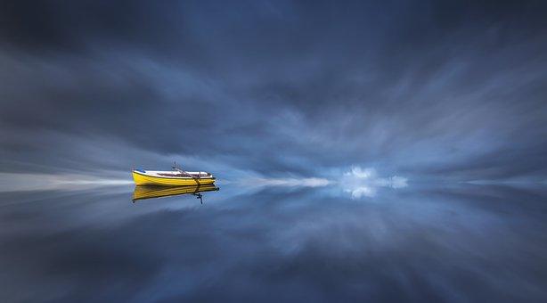 Fantasy, Boat, Mirroring, Water, Sea, Ocean, Ship, Sky