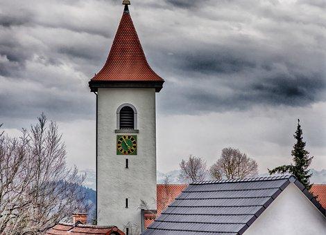Steeple, Village, Church, Landscape, Sky, Architecture
