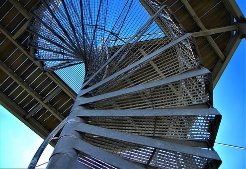 Steel Stairs, Low Angle Shot, Spiral Staircase, Top