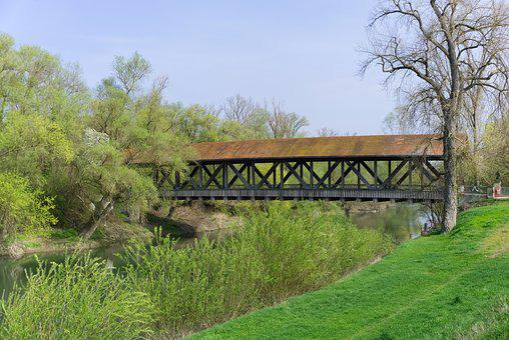 Bridge, Wooden Bridge, The Old Rhine Bridge, Transition