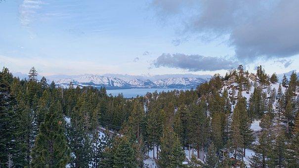Lake Tahoe, Spring, Morning, Blue Lake, Mountains