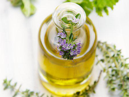 Oil, Bottle, Thyme, Blossom, Bloom, Glass, Close Up
