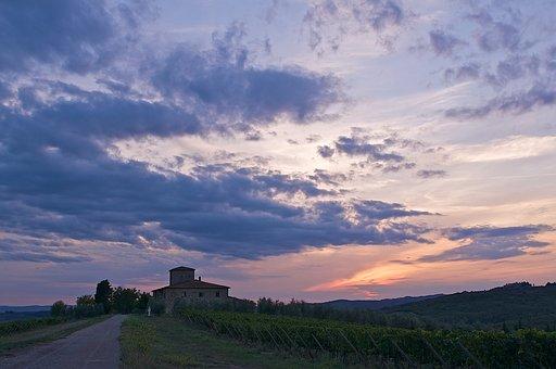 Tuscany, Italy, Chianti, Landscape, Sky, Architecture