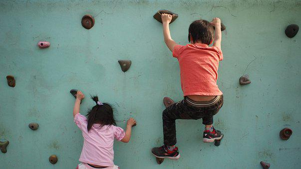 Back, Efforts, Kids, Wall Climbing, Park, Play