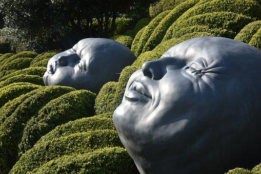 Garden, Etretat, France, Nature, Topiaries, Faces