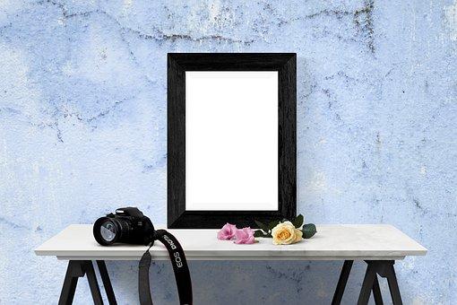 Poster, Frame, Wall, Desk, Flowers, Camera