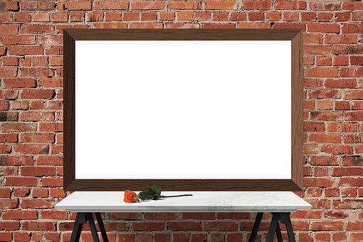 Poster, Frame, Wall, Desk, Flower, Brick