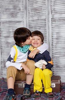 Kids, Kiss, Brothers, Childhood, Baby, Friendship, Boys