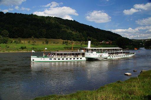 Elbe, River, Ship, Landscape, Elbe Sandstone Mountains