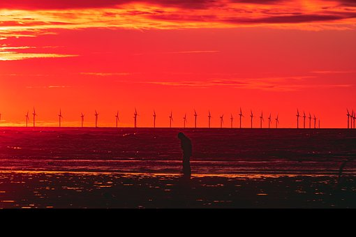Sunset, Wind Turbines, Orange, Sea, Beach, Natural