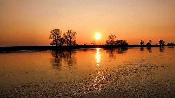 Sunset, Landscape, River, Elbe, Rapids, Mood, Sky