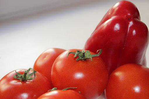 Tomatoes, Peppers, Vegetables, Food, Products, Red