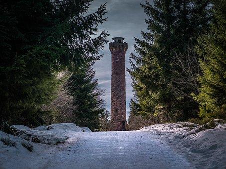 Black Forest, Fir Tree, Winter, Tower, Nature, Snow