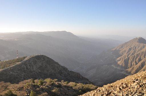 Mountain, Hills, Rocks, Valley, Road, Sunrise, Sunset
