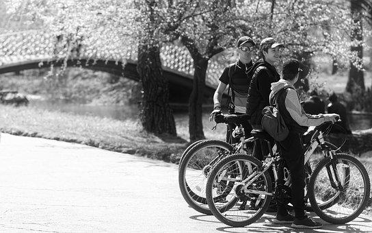Black And White, Cyclists, Young People, Boys, Bicycle